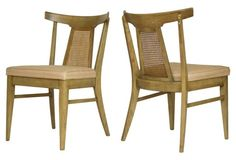 Midcentury Bleached  Walnut Chairs, Pair
