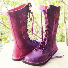 handmade purple leather boots. Check out Fairysteps on Etsy :-)