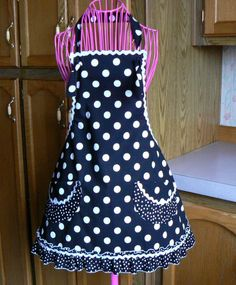 Womans Full Retro Apron Small with Ruffles Black by MontanaTwirls