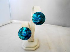 """Turquoise Abalone Shell Disc Earrings, Pierced 1"""" Disc, 1776 $15.00"""