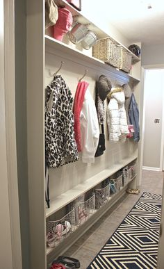DIY narrow mudroom wall with only 5 inches of depth needed. Plan and details on The Creativity Exchange.
