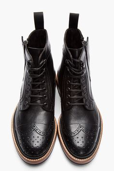 Black Leather Brogue Boots.