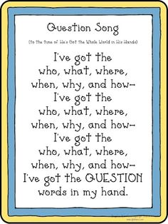 Ideas for when we learn about questions