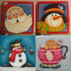 Foto: Christmas Yard Art, Christmas Rock, Christmas Drawing, Christmas Ornaments To Make, Christmas Paintings, Christmas Pictures, Christmas Crafts, Gingerbread Ornaments, Wood Ornaments