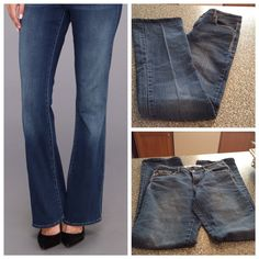 Mid-Rise BootCut Jeans Gene Culture Mid-Rise BootCut jeans are comfortable and stylish.  Made of 65% cotton, 33% Polyester and 2% Spandex. Size 8 and the Inseam is 31.  Good condition and a non smoking home Gene Culture Jeans