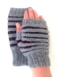 Baby Alpaca Grey & Purple Fingerless Mittens