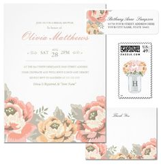 Boho Botanical Bridal Shower Invitation - Rustic Garden Party Theme