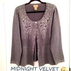 "Midnight Velvet Beaded Cardigan Sweater Midnight Velvet Beaded Cardigan Sweater, gorgeous grey color, with beads covering much of collar, front and bottom of long sleeves. Beautiful crystal button. Size XL or 14/16, approx 26"" long. In EXCELLENT, like-new condition. Stunning!! Midnight Velvet Sweaters Cardigans"