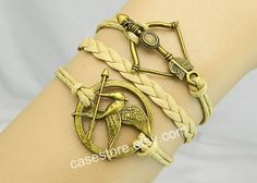 Mockingjay pin braceletallow braceletleather by charmcover on Etsy, $5.99