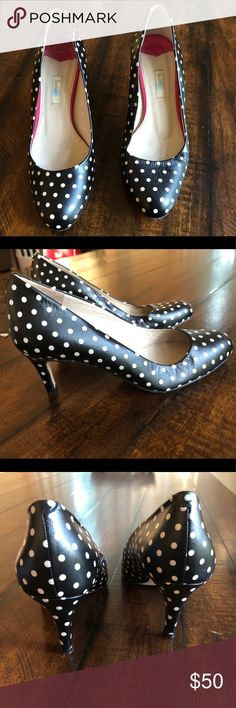 """Boden Black & Cream Chic Polka Dot Heels Adorable black & white polka dot heels by Boden! Size 36, Size 6 US, but they fit like a 6 1/2. Leather upper and soles. Made in Spain. Worn for one event. Excellent condition! Heel height approx 3"""". Boden Shoes Heels"""