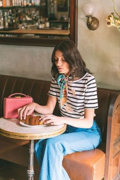 How to wear a scarf, french girl style, striped top, benton top, classic striped tee Spring Fashion, Girl Fashion, Style Fashion, Paris Fashion, Fashion Outfits, Fashion Scarves, Steampunk Fashion, Gothic Fashion, Victorian Fashion