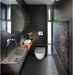 Πλακάκι μαύρος γρανίτης σε μικρό μπάνιο ,ακούγεται δύσκολο, αλλα το συνολο ειναι τέλειο!