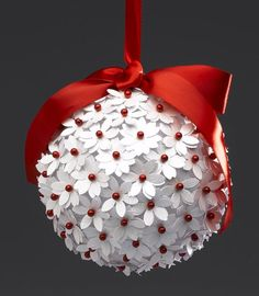 Red & White Paper Punch Ornament & 11 other DIY Paper Ornaments.