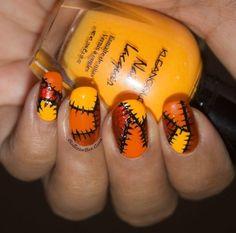 festive fall patchwork manicure in orange, yellow and brown polish for Halloween inspired nail art. Fall Nail Art, Autumn Nails, Winter Nails, Love Nails, Fun Nails, Pretty Nails, Holiday Nail Designs, Holiday Nails, Holloween Nails