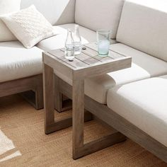 We gave our Portside Side Table its rustic look by wire brushing the solid wood…