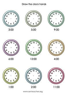 Worksheet displaying digital times and individual analogue clock faces to draw these times on. This worksheet contains o'clock questions.
