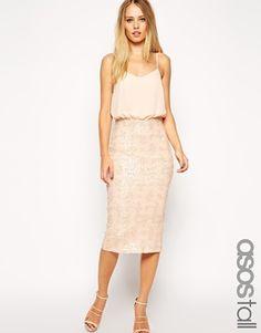 Agrandir ASOS TALL Exclusive Sequin Skirt Midi Cami Dress