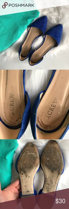 J. Crew Royal Blue Suede D'Orsay Flats Double D'Orsay Royal bright blue flats. Pre loved condition! Bottoms are worn and there is a dent in one shoe but these would be perfect for a slip on cute shoe for casual use! Reposhing because they run a bit long for 7.5. I have added a non slip pad in the back that can be removed. J. Crew Retail. Leather upper and lining. Listing as an 8 because they run a little big. Photo shown compared to a J. Crew size 8.5, although take into consideration these…