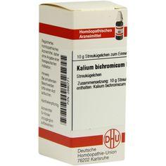 KALIUM BICHROMICUM D 6 Globuli:   Packungsinhalt: 10 g Globuli PZN: 02890771 Hersteller: DHU-Arzneimittel GmbH & Co. KG Preis: 5,19 EUR…