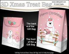 3D Little Christmas Ben Polar Bear Gift Bag Mini Kit on Craftsuprint - View Now!