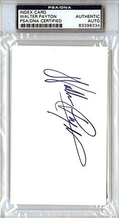 Walter Payton Autographed/Hand Signed 3x5 Index Card Chicago Bears Vintage Rookie Era PSA/DNA