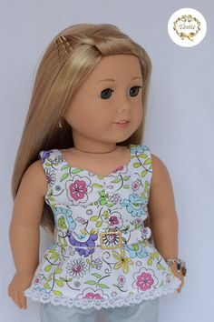 "American girl doll clothes "" Peplum Blouse with belt """