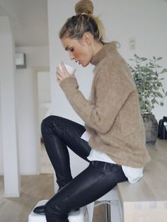 Photos via: Camilla Pihl Camilla is a never-ending source of inspiration and this cozy cool look is no exception. She pulls off winter layers perfectly with a fuzzy knit, striped shirt and leather pan