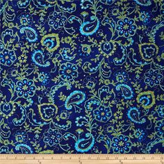 Hampton Collection Cotton Jersey Knit Paisley Navy from @fabricdotcom  This jersey knit fabric is perfect for creating kids' apparel, tops and T-shirts. It features no significant stretch. Colors include green, aqua and a printed navy background.