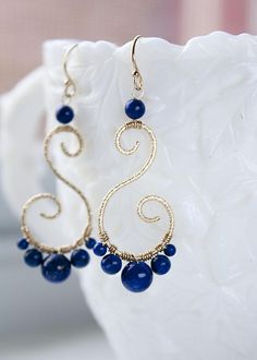 Wire wrapped Lapis Lazuli Earrings Royal Blue Statement