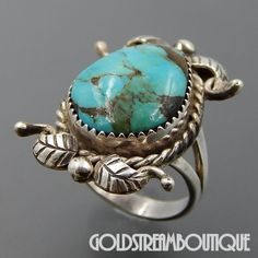 MARY CHAVEZ NAVAJO STERLING SILVER GORGEOUS AMERICAN TURQUOISE FEATHERS RING