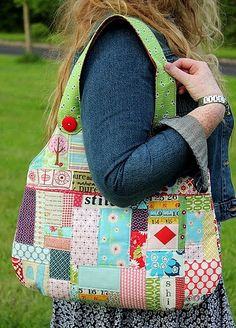 Love these scrappy patchwork bags