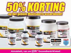 G & W #Gezondheidswinkel - Alleen nog deze week 50% korting op het gehele MaxXsports assortiment!  #Enschede #Haverstraatpassage