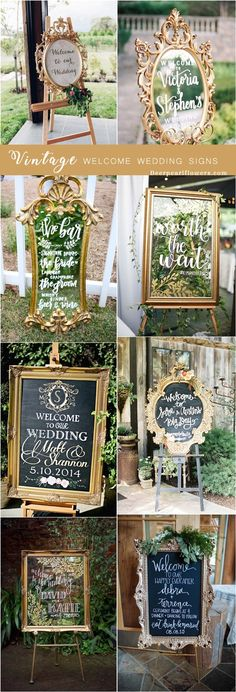 vintage wedding welcome sign