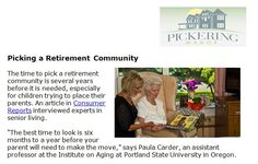 http://pickeringmanor.org/picking-a-retirement-community - When you are searching for the perfect retirement community, there are several factors you need to consider - Follow the link for more information