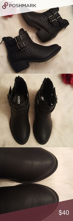 NWOB Black leather cutout heeled ankle booties 6.5 New without box. Never been worn. Heeled ankle booties. Beautiful pattern. Black color. Decorative Double straps. Back zipper for closure. Heel 2''. SIZE 6.5 Soda Shoes Ankle Boots & Booties