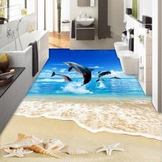 Comtemporary Design Jumping Dolphins Sea Scenery Pattern Splicing 3D Floor Murals