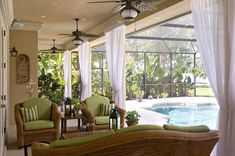 florida room with pool for parent's house. Indoor Sunroom Furniture, Patio Wall Decor, Wicker Furniture, Furniture Ideas, Cane Furniture, Sunroom Curtains, White Curtains, Outdoor Curtains, Elegant Curtains