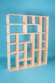 10 vierkante en 10 rechthoekige elementen van hout
