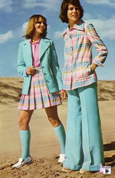 1973. I was a teenager in the 70's and wouldn't have been caught dead in either of these outfits...