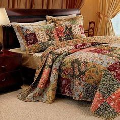 French Country Floral Patchwork 100% Cotton Quilt Bedspread Set Super Size (to the floor).  This elegant bedding is a nice addition to a Cottage Country or Vintage bedroom.