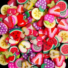 Fruit Polymer Clay Cane Slices Fruit Fimo Mix (BIG/LARGE) Miniature Sweets Decoden Kawaii Fruit Fimo Cane Nail Art (50pcs by Random) CMX037