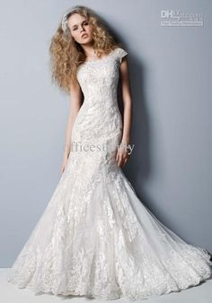 Wholesale Wedding Dress - Buy 2013 Lace High Neck Mermaid Wedding Dresses with Short Sleeve Bridal Gown CWG533, $149.68   DHgate
