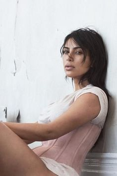 Kim Kardashian wearing Balmain Pink Corset