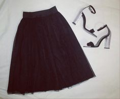 Midi tulle skirt and gorgeous high heels sandals. Black and silver