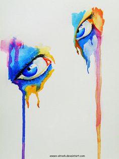 Bleeding watercolor eyes