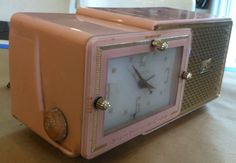 Vintage 1950 Bulova Pink & Gold Color AM by VINTAGERADIOSONLINE