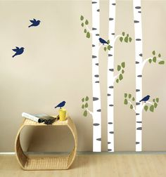 Birch Trees with Birds Fabric Wall Decal by StudioWallDecals, $55.00