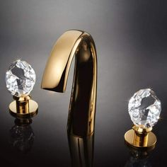 Shop the Swarovski Crystal Widespread Bathroom Faucet at Perigold, home to the design world's best furnishings for every style and space. Widespread Bathroom Faucet, Best Bathroom Faucets, Bathtub Faucets, Bamboo Bathroom, Concrete Bathroom, Gold Bathroom, Bathroom Mirrors, Bathtubs, Luxury Bathrooms