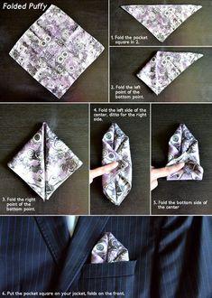 How to fold a pocket square? No właśnie ja się to sklada? Pocket Square Folds, Pocket Square Styles, Pocket Squares, Sharp Dressed Man, Well Dressed Men, Pliage Pochette Costume, Tie A Necktie, Pocket Handkerchief, Mens Fashion