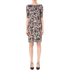 ERDEM Floral-print stretch-jersey dress (€750) ❤ liked on Polyvore featuring dresses, gloria garden, boatneck dress, floral sleeve dress, boat neck dress, form fitted dresses and floral printed dress